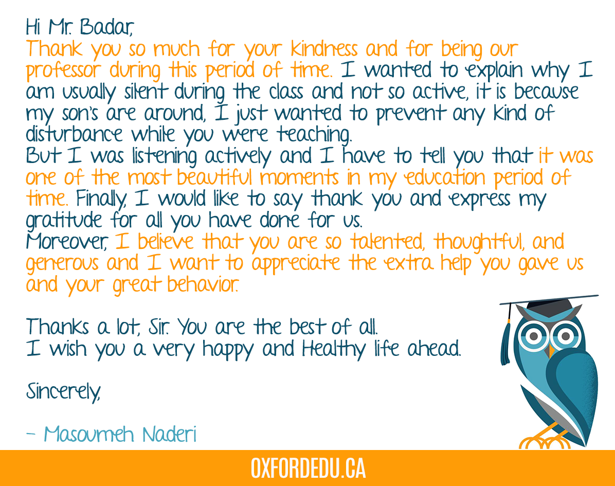 We keep getting good feedback from our students. Here's what Masoumeh Naderi, a Scarborough student, sent to Mr. Badar #OxfordEdu #Oxfordcollege pic.twitter.com/s5DrxUhEyz