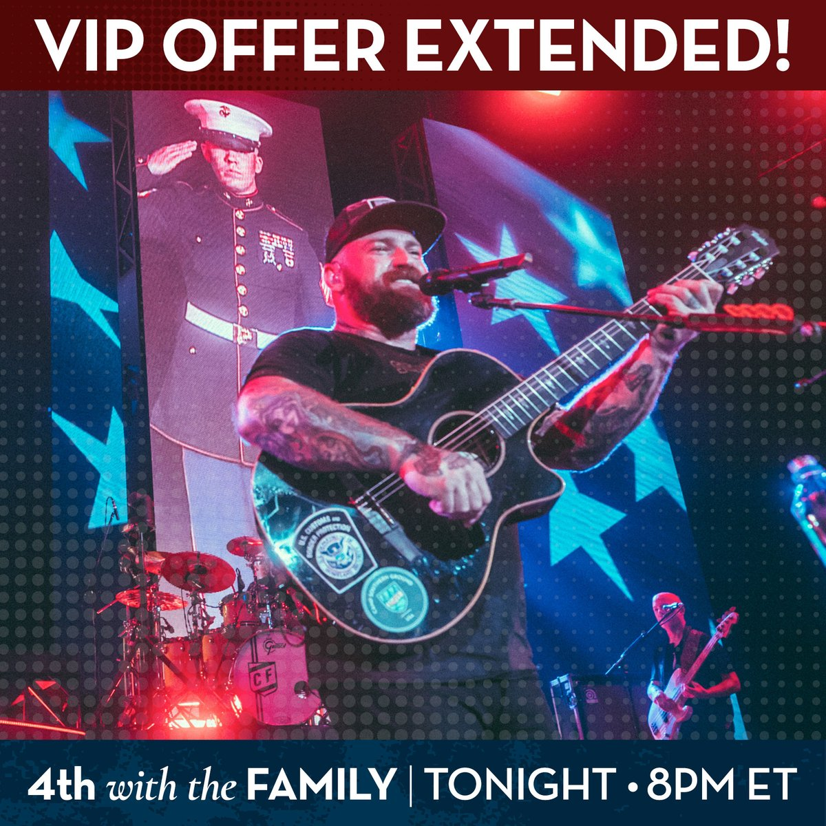 We're so excited about #4thwiththefamily tonight, we're extending our VIP offer! Donate $100 by 2:00PM ET for access to an exclusive pre-show event with @zacbrownband! All proceeds support #warriorwellbeing @campsouthernground. Donate now at https://t.co/k9bdLXBQh1 https://t.co/XSMphQE5aN