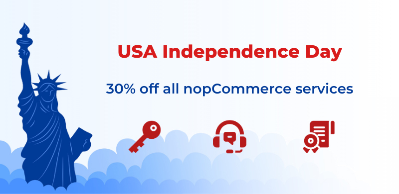 🇺🇸 Best wishes on USA Independence Day! Get a 30% discount on all nopCommerce services.   🔑 Buy copyright removal key: https://t.co/IXe4O263Xo  ⚙️ Buy premium support: https://t.co/54IB5qtKI4  📜 Buy developer certification: https://t.co/o8C7XXr5L6 https://t.co/7QRpeUAmRp