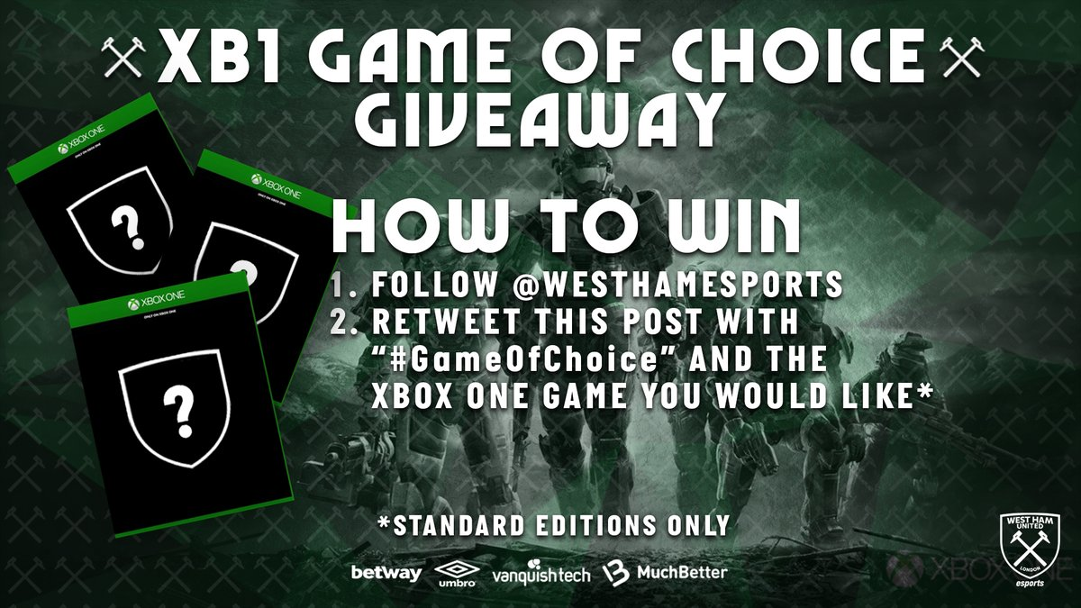 💥WEEKLY FRIDAY GIVEAWAY💥 This week we are giving away a game of choice for your XBOX ONE 😍🎮  How to win? 1. Follow @WestHamEsports 2. Retweet this post with #GameOfChoice and the Xbox One game you would like  Winner will be announced Monday, 6th of July 🔈 #xboxone #xb1 https://t.co/k1tTCfmaEU