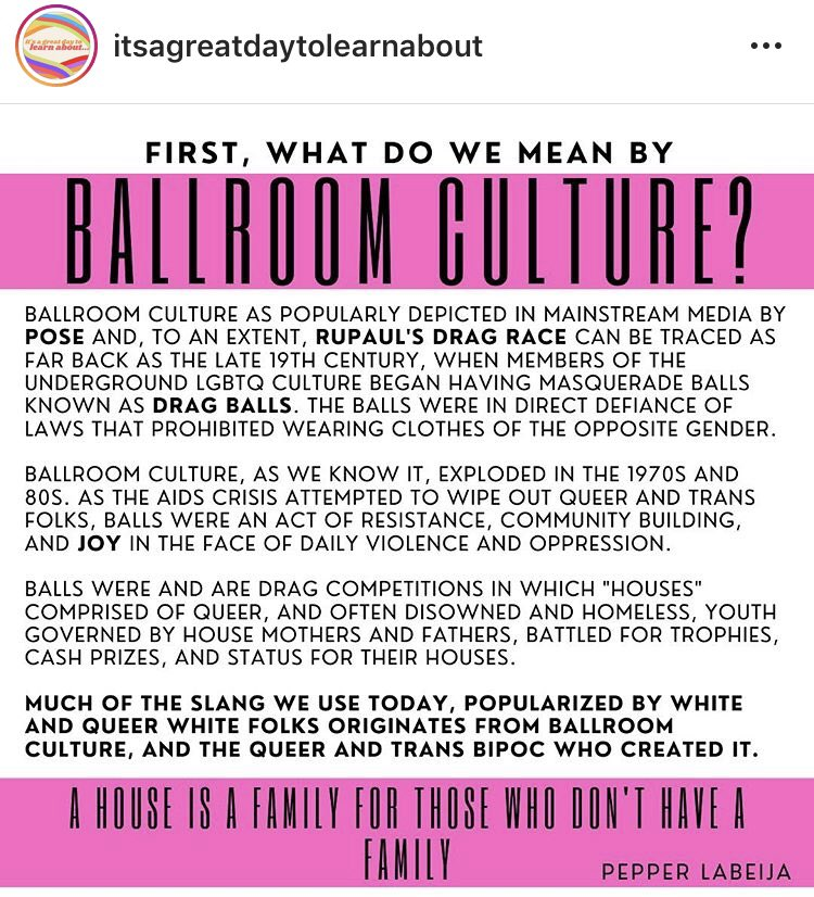 Ever hear of Ballroom Culture? Here are some examples of popular terms and language that originated in the Trans, Queer, BIPOC communities https://t.co/9knMKMqOHN