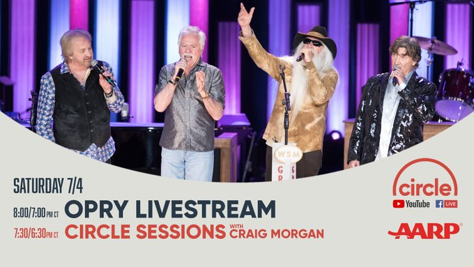 Circle & AARP Fraud Watch Network present Oak Ridge Boys, Sara Evans, & Mark Wills LIVE from the Grand Ole Opry! With Bobby Bones & Natalie Stovall on FB & YT Sat, July 4, 7:30/6:30c pm with Craig Morgan. @AARP @aarpfraudwatch   AARP's Fraud Watch Network: https://t.co/xPtIrJafPm https://t.co/9H0yNKqACv