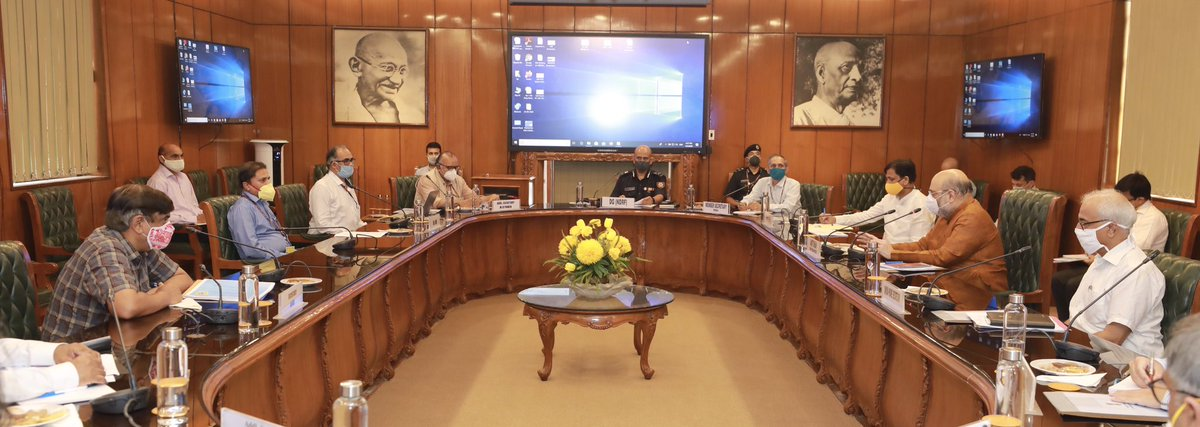 HM @AmitShah reviewed the preparedness related to tackling the flood situation in different parts of the country.  Important instructions: • Develop scheme to reduce flooding & minimize loss to property & lives. • Permanent system for flood forecasting.  https://t.co/vHCgkjbI4P https://t.co/e3qgFhMvje