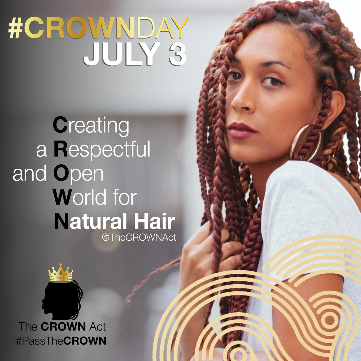 Let's end #hair discrimination together. Here's how you can join the effort from wherever you are:   👑 Sign the petition at https://t.co/P1FxeiUkYY   👑 Wear your #CROWN boldly and proudly and tag us in your pictures!  #CROWNDay #CROWNAct (2) https://t.co/bm5IgTrltM