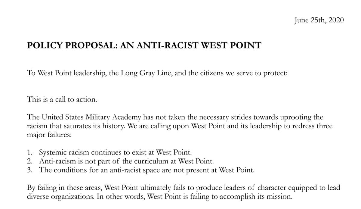 This is pretty remarkable. The highest-ranking West Point cadets for the Classes of 2018 and 2019 have jointly written a 40 pg. policy proposal with recommendations for making the Academy anti-racist. (1/4) https://t.co/v2YT4LuoYK
