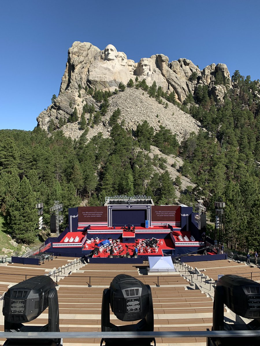 Greetings from MOUNT RUSHMORE in South Dakota. Pres. Trump is set to be right here later tonight.