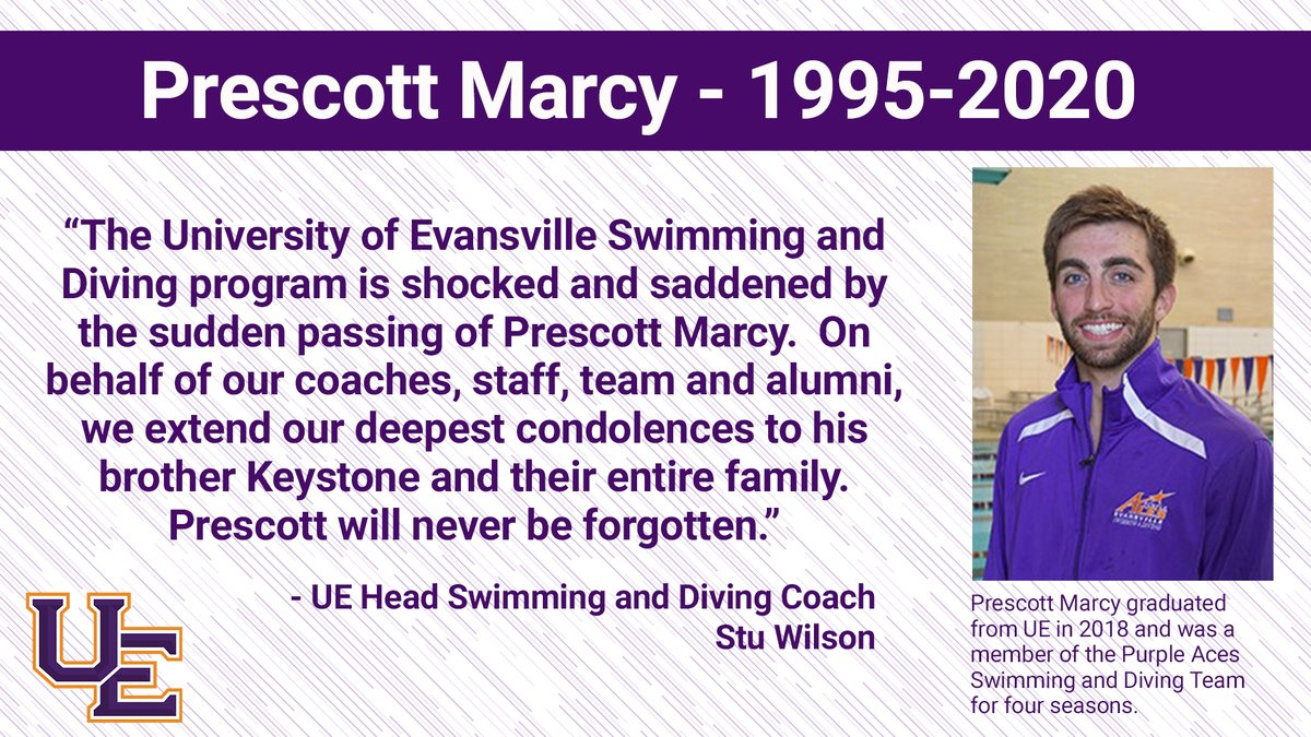 The UE Swimming and Diving program mourns the loss of alum Prescott Marcy.<br>http://pic.twitter.com/SzI0OWhFU6
