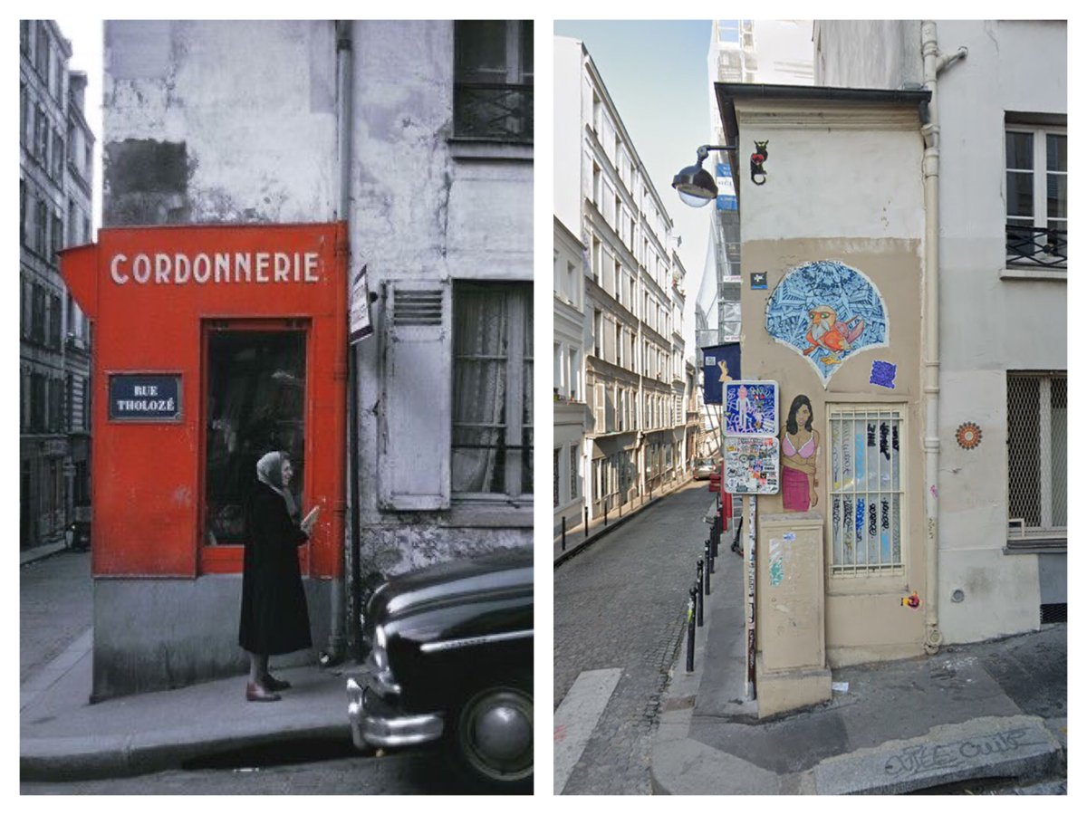 Rue Tholozé, Paris, 1958 and today. Thanks to @ParisAMDParis for historic image by Willy Ronis. #paris #thenandnow #avantetapres #voyagerdansletemps #history #histoire #ruesdeparis #ParisJeTaime #ParisMonamourpic.twitter.com/GuawDjTAjK