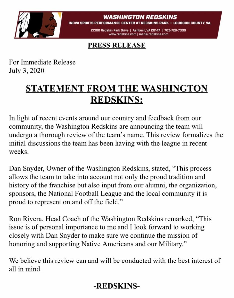 BREAKING: Washington Redskins say they will review team name. per @Redskins press release 👇