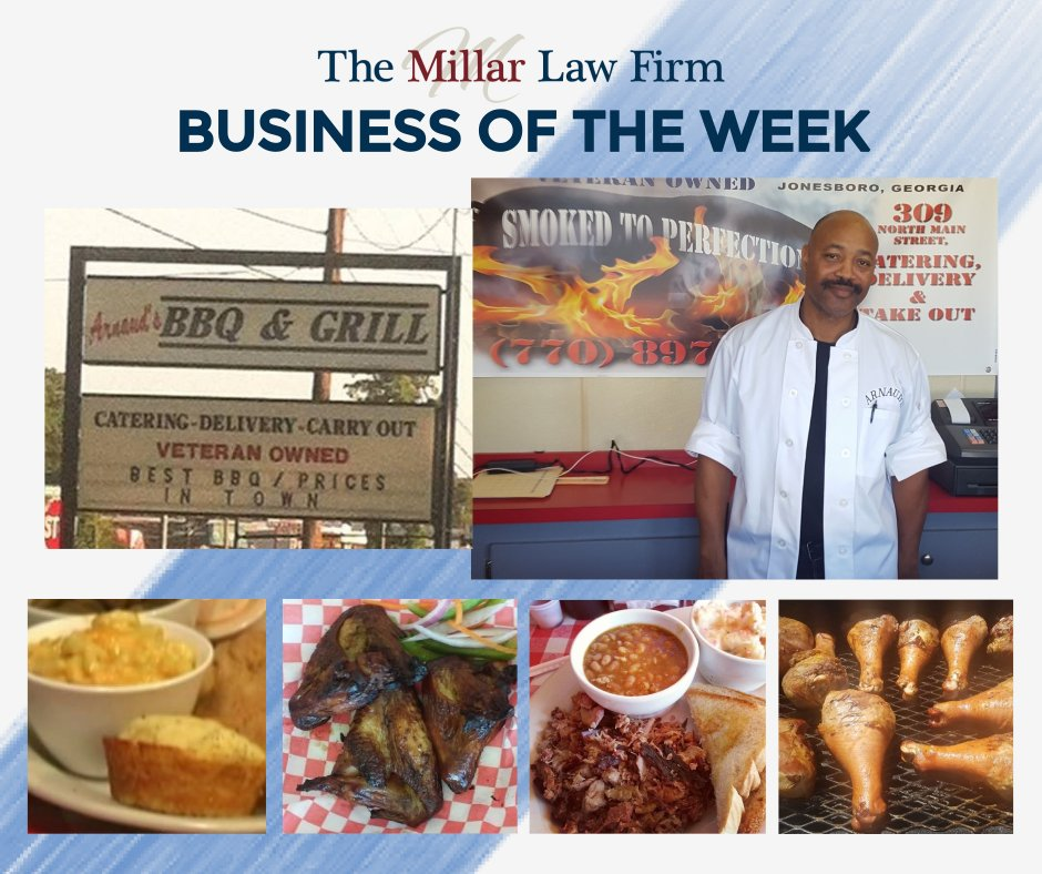 It's 4th of July weekend, so it's only right that The Millar Law Firm Business of the Week be a local BBQ restaurant! Arnaud's in Jonesboro, GA offers ribs, smoked chicken wings, sides, dessert, and more!  Order at http://www.arnaundsbbqga.site/ or apps including doordash and grubhub.pic.twitter.com/Ky994ux0ts
