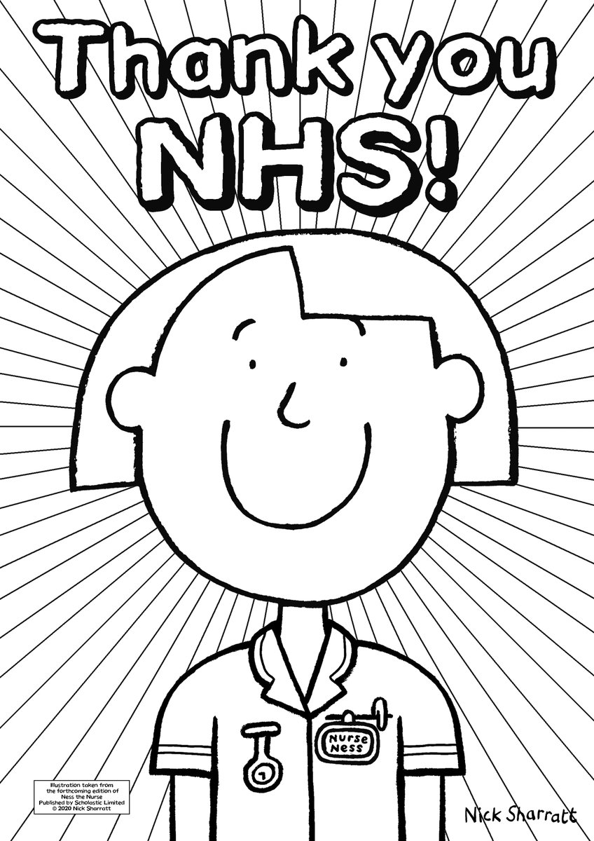 Celebrate the 72nd #NHSBirthday this Sunday with a poster to colour in & display. Go to https://t.co/4YcPaIo0gq  Designs by @GuyParker_Rees, @MrSteveAntony, @Alex_T_Smith... Here's my #NesstheNurse (who gets a makeover in her next book reprint!) @togethercoalit @Literacy_Trust https://t.co/xYvsKxicSu