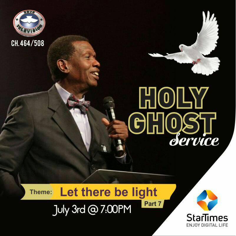 Hello #Stars!  You do not want to miss the July RCCG Holy Ghost Service showing later today on Dove TV Ch. 464/508  Theme: Let there be light...  Time: 7pm  Get ready for the light of God to illuminate you!  #StarTimesCares #rccghgs #hgs https://t.co/SgVbcC6Pir