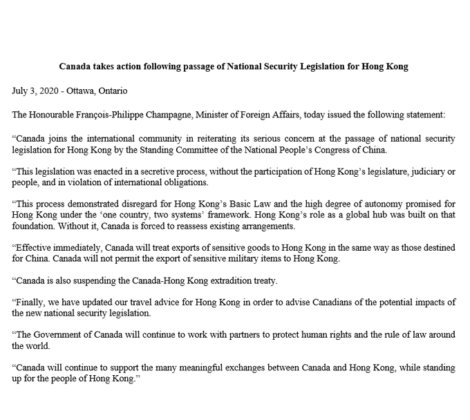 Canada suspends extradition treaty with Hong Kong in wake of China's passage of new national security law. Canada to also treat exports of 'sensitive goods' in same way as those destined for China. Link to statement from Foreign Affairs Minister François-Philippe Champagne: https://t.co/Nfy721spTl