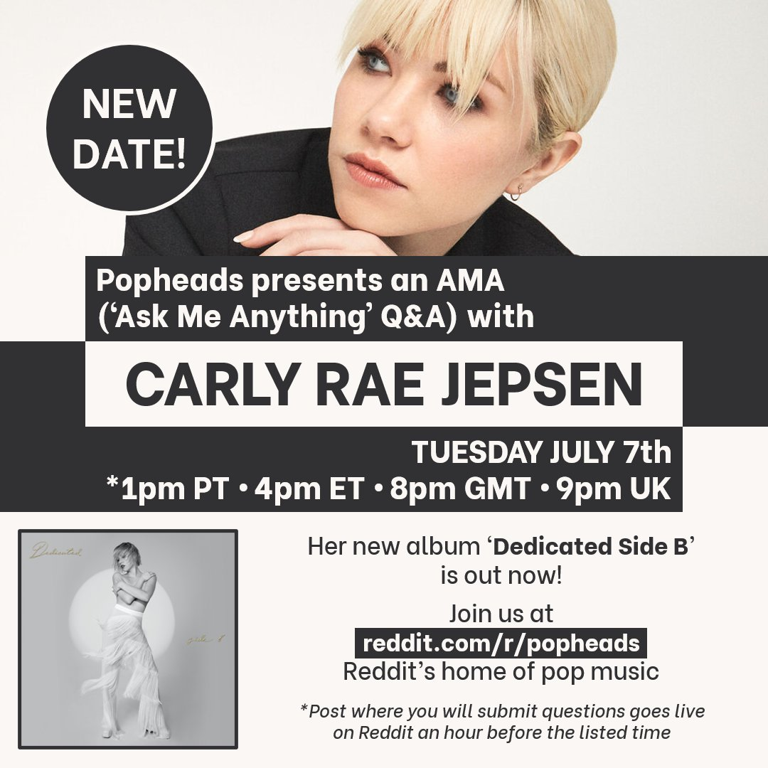 The date is set, @carlyraejepsen will be joining us for an AMA at reddit.com/r/popheads this Tuesday!