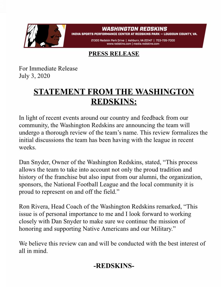 "🚨🚨UPDATE🚨🚨   #Redskins Statement on Team Name:  ""The team will undergo a thorough review of the team's name""  For more: https://t.co/Hgh3Jw6OiO  @wusa9 @WUSA9sports https://t.co/TXfvtACVXA"