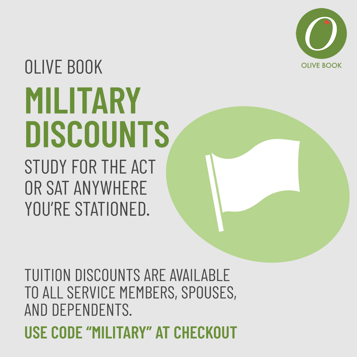 """Are you a member of the #military community?   Olive Book's online, self-paced #ACT and #SAT courses are ideal for families on the move. 💻  Tuition discounts are available to all service members, spouses, dependents, and veterans. Just use code """"MILITARY"""" at checkout. https://t.co/E2B1QrEEEB"""