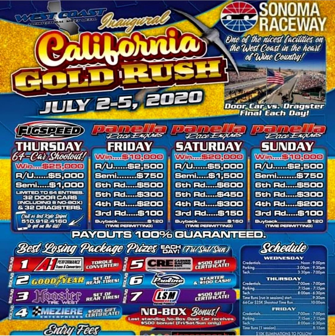 We are proud to be sponsoring the Inaugural California Gold Rush @racesonoma this weekend.  Good luck to all the racers competing!  Have fun out there and Happy Independence Day  to everyone.  #panellaraceengines #dragracing #sonomaracewaypic.twitter.com/120WxQDdJH