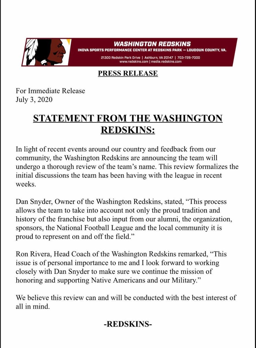 Washington Redskins to launch 'thorough review' of team's name. NFL team, founded in 1932, cites 'recent events around our country and feedback from our community.' Statement: https://t.co/tOJgldoZa2
