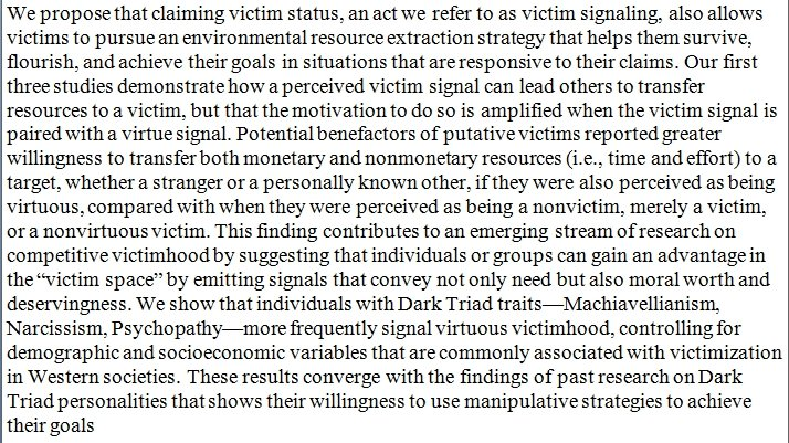 "Individuals with ""dark"" personality traits more frequently signal virtuous victimhood, finagling benefits from other people. https://t.co/69G0PJY8CY https://t.co/sieSJH3m4F"