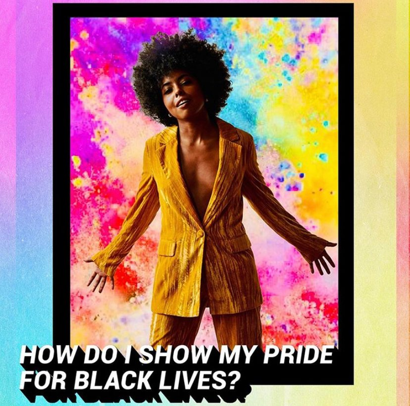 """""""I show my #PRIDE for Black lives by showing up and doing my best in all that I do. I show my pride by finding light when the world wants to throw me darkness."""" – @AdrienneLWarren How do you show your #Pride? #Pride4AllBlackLives #TINABroadway"""