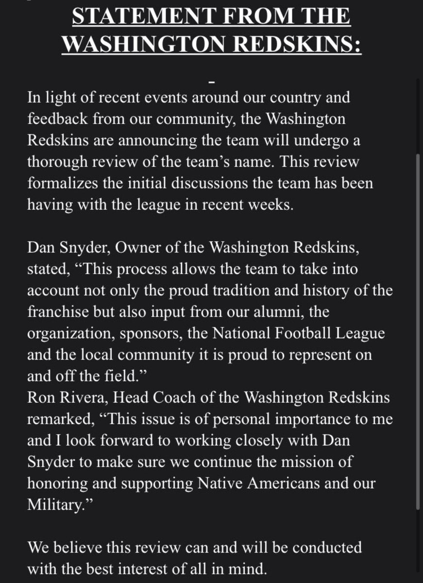 """Wow. The Washington Redskins will undergo """"a thorough review of the team's name."""""""