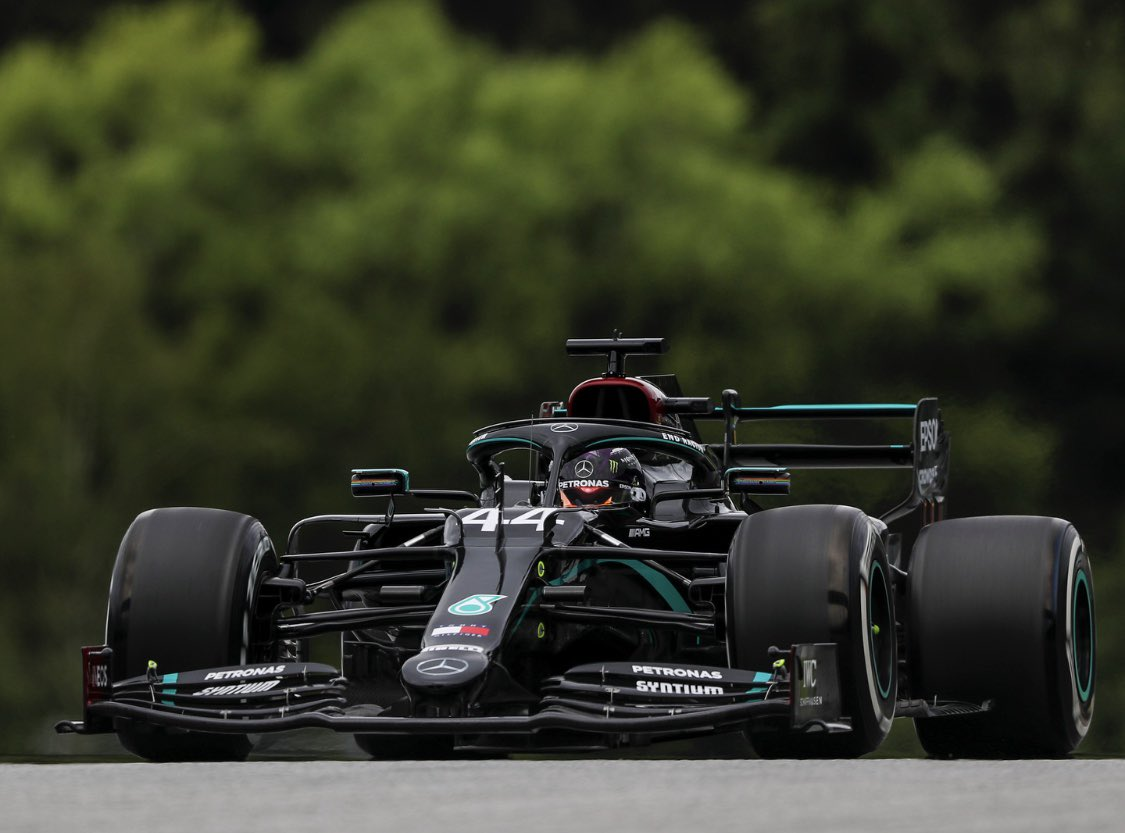 Day 1 back behind the wheel. Man I love it. Great effort from the team today and in the build up to what really is the most unusual circumstances. I'm grateful to everyone whose hard work enabled us to be back today. Sending you all positivity 👊🏾 #AustrianGP #F1