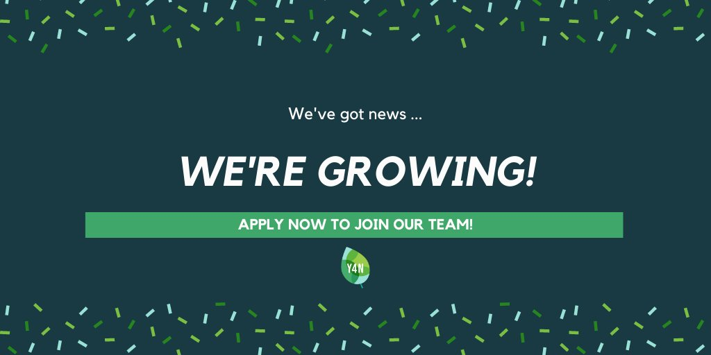 WE'VE GOT BIG NEWS! Last May we launched to mobilize #youth for nature and climate action. Today, we are humbled & thrilled to announce that we are hiring! We are looking for seven new team members to help us grow.   For more info and to apply  https://www.youth4nature.org/blog/we-are-growing…pic.twitter.com/f1l9OjqLNW