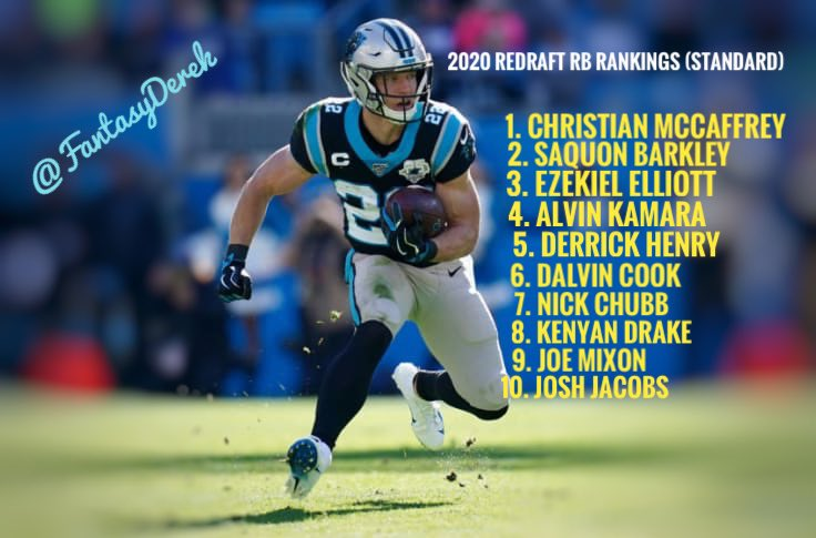 Fantasy Community!  My 2020 Top 10 Redraft RB Rankings (Standard)  Agree? Disagree?   Who's in your Top 10?   #FantasyFootball #Rankings #football #sports #fantasysports pic.twitter.com/fz69vE1YA8
