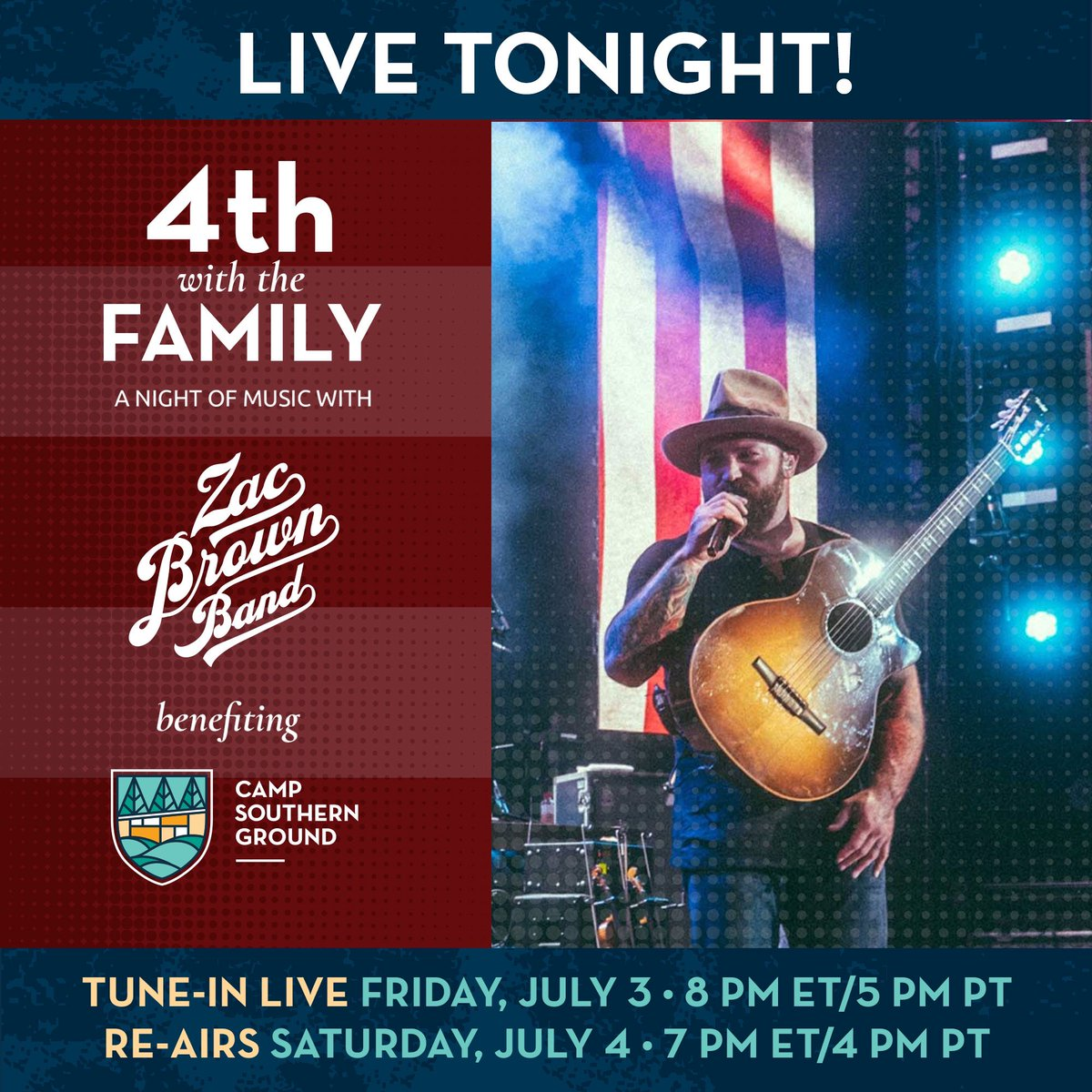 Tonight's the night! Join us live on Facebook and YouTube at 8pm ET to support @campsoutherngrd! Make a donation during the broadcast or give online here: https://t.co/uIEMrMM4xI #4thwiththefamily #warriorwellbeing https://t.co/OrJTKdUGD4