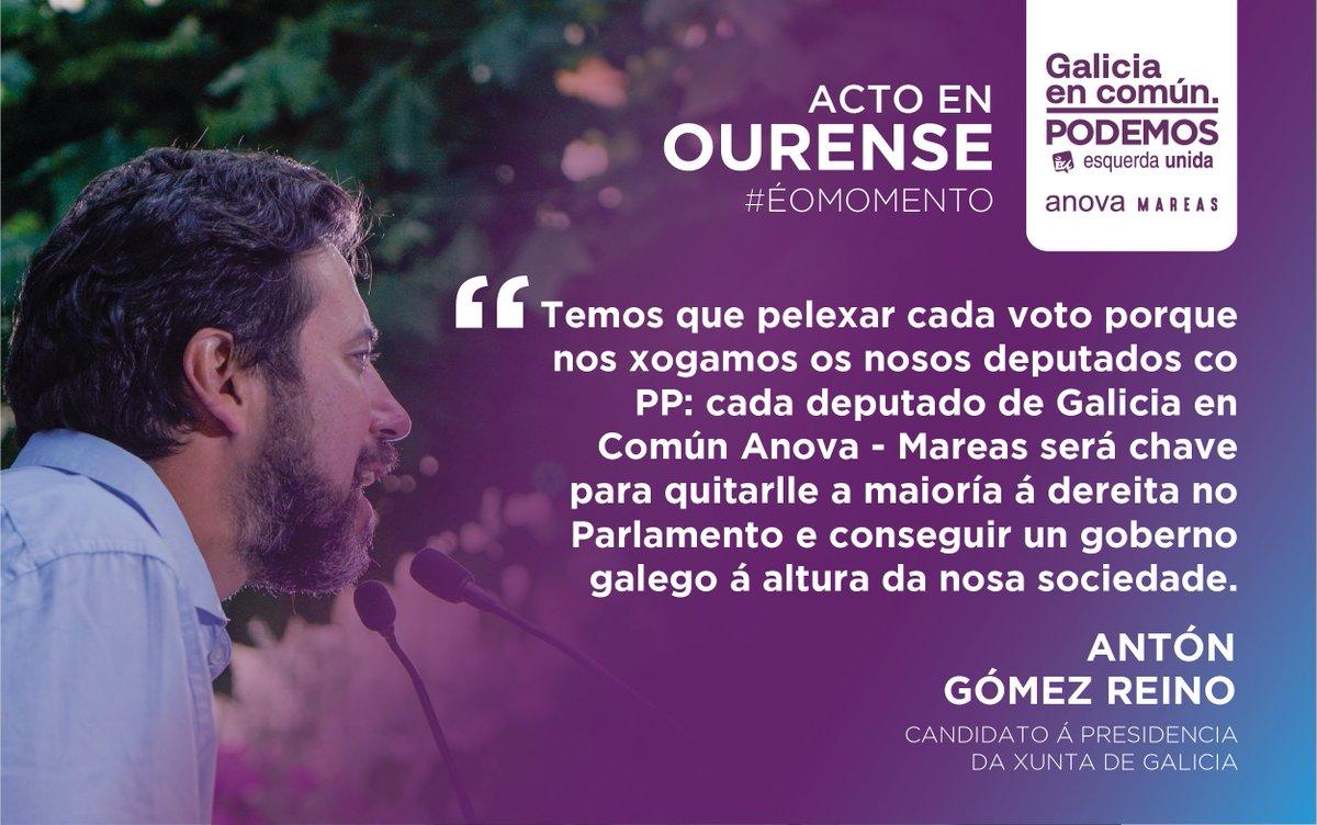 🗯 O candidato á presidencia da Xunta, @AntonGomezReino , explica a importancia de cada voto a Galicia en Común - Anova Mareas, clave para botar ao PP do Goberno! #ÉoMomento #ConstruírmosoFuturo