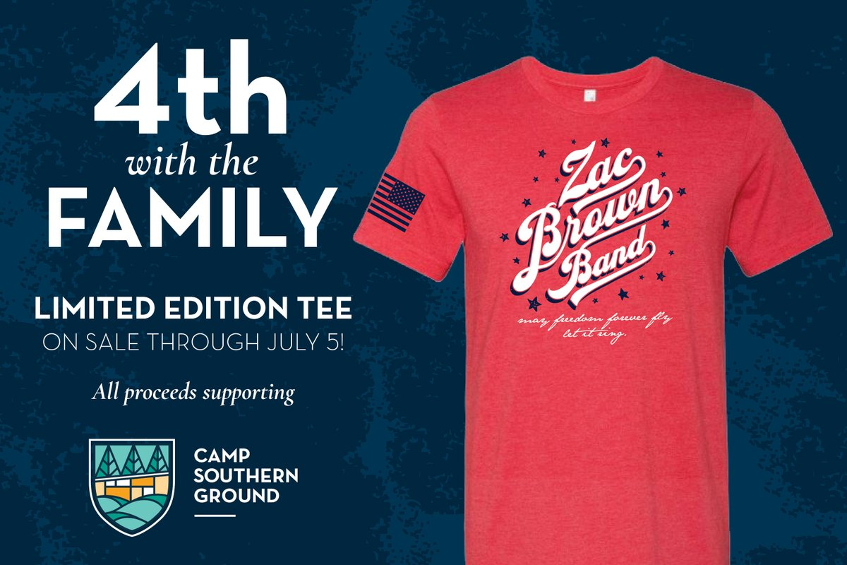 Show some @zacbrownband and @campsoutherngrd love with this Limited Edition tee! All proceeds support our Warrior programs, which care for the mental health and wellbeing of transitioning veterans. Get yours today at https://t.co/8jhGvSq3O5 #warriorwellbeing #4thwiththeFamily https://t.co/K9wvxPv71S