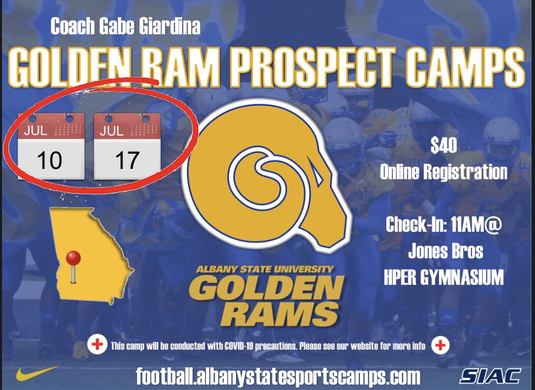 HS recruits looking for an opportunity? Come get evaluated by the Golden Ram football staff! Spots are limited—sign up online today! 🐏🔵🟡   https://t.co/jHF3u37IuS https://t.co/5Hh7GVSprc