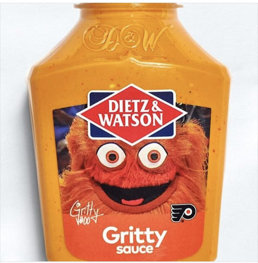 Look, I have QUESTIONS. Is this sauce: A) Made by Gritty? B) Endorsed by Gritty? C) Made OF Gritty? D) Something secreted by Gritty? E) Gritty in consistency?