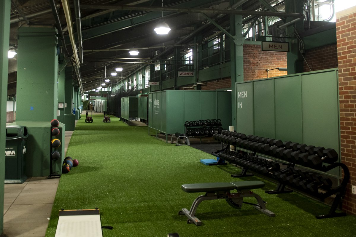 They have also converted Fenway Park's concourse into a batting cage and an expanded gym. (📸: @RedSox)