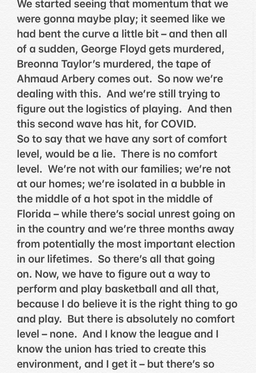 """A poignant, powerful statement from JJ Redick: """"To say that we have any sort of comfort level, would be a lie. There is no comfort level..."""" https://t.co/6UR2jKdNaQ"""