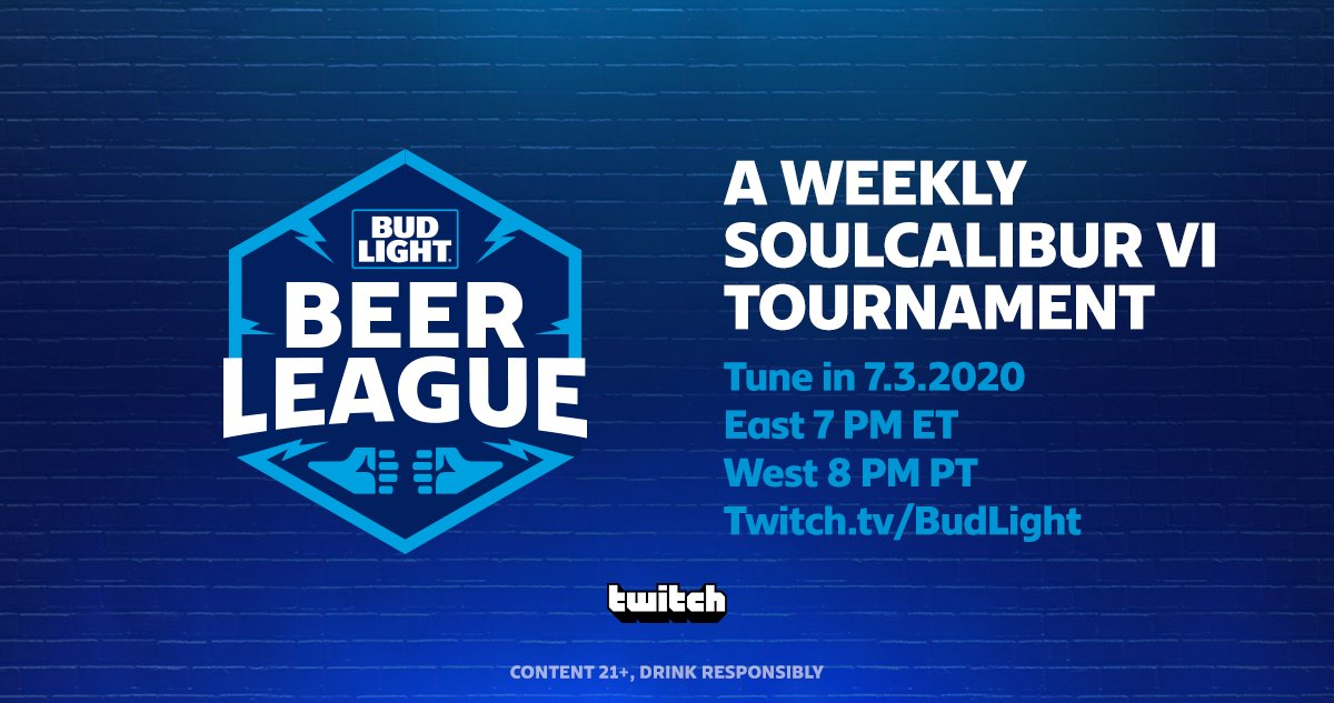 Watch the @BudLight Beer League with #SOULCALIBURVI today starting at 4 PM PT for the East and 8 PM PT for the West at https://t.co/Mm9OSSKS2P.  Must be 21+ to participate https://t.co/qksY1tGKoL