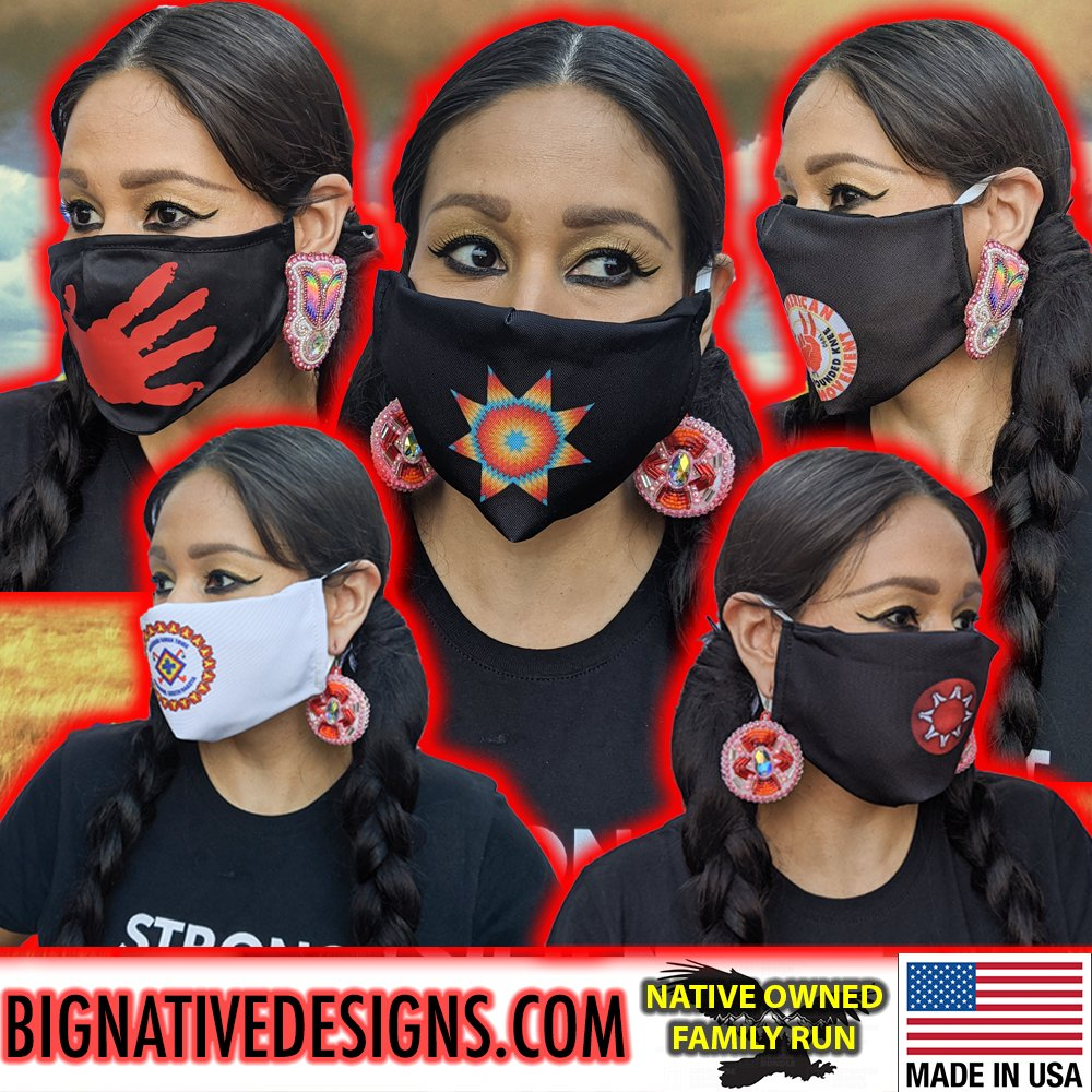 If you need a mask. Please check out my site. These are all made here on Dakota territory (Minnesota) and ship out fast! Lakota owned business. If you could retweet that would be a great way to show support! shop here: bignativedesigns.com @IndigenousBeads