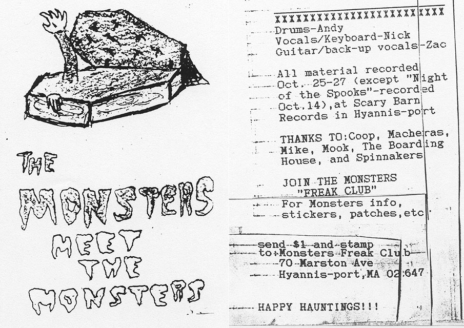 @EKSmithMuseum Here's a tape cover I made for my second band, The Monsters, from when I was 13 – probably illustrated with a ballpoint pen, typeset on my family's typewriter, reproduced on the photocopier at my mom's office. Also a photo of me from a year or two before that, for reference.
