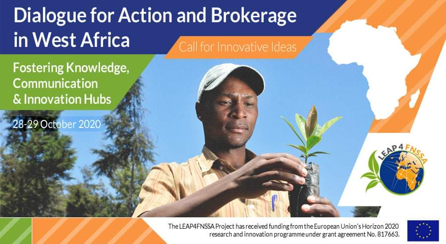 LEAP4FNSSA West Africa Workshop: Call for innovative ideas  This long-term Europe-Africa research and innovation partnership for food and nutrition security is looking for innovative solutions. Young innovators and entrepreneurs can apply. https://www.leap4fnssa.eu/leap4fnssa-dialogue-for-action-and-brokerage-in-west-africa-workshop-call-for-proposals/… @QuestSa1pic.twitter.com/R0UQclURht