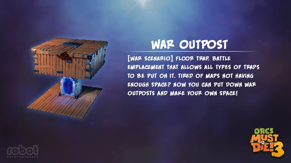 Order Research & Development is showing me a few traps they have finished... There's a War Outpost and a Window of Butterflies! The War Outpost lets me build my own killboxes for War Scenarios, and the Window of Butterflies makes a distraction for the Orcs to chase! pic.twitter.com/het2Rdj7i5