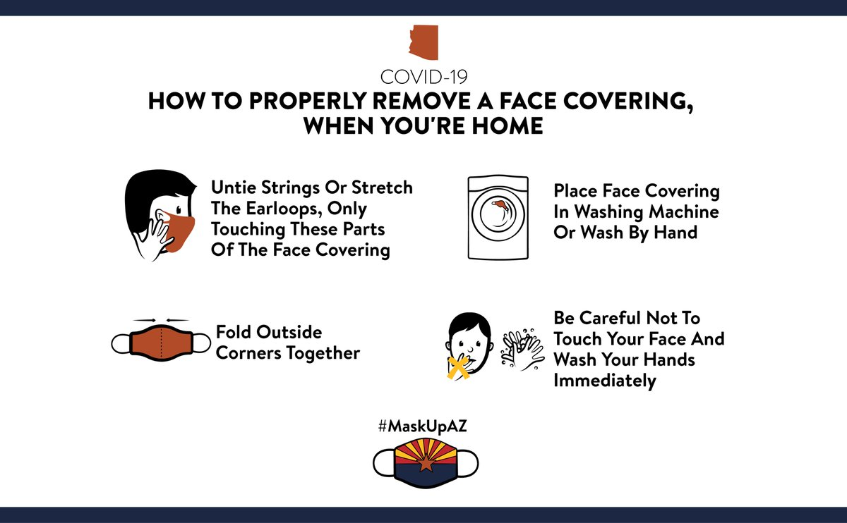 Important steps to follow when removing your face covering ⬇️ @CDCgov #MaskUpAZ