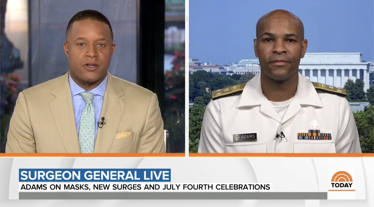 """3 months ago the US Surgeon General said """"buying masks does not help…in preventing the spread of coronavirus.""""  Today, his message ahead of the holiday weekend is different. #4thofjulyweekend @TODAYshow   https://t.co/9cy2yPuR0N https://t.co/z86FFyLo2g"""