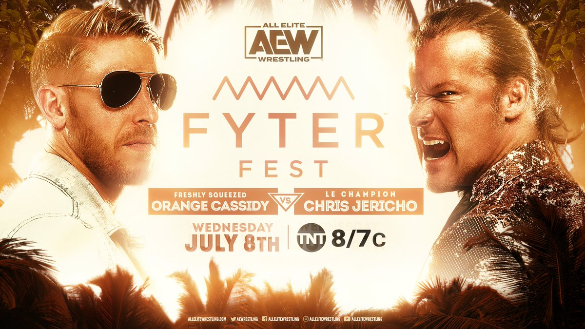 Next week at #FyterFest, its #FreshlySqueezed @orangecassidy vs. #LeChampion @IAmJericho in what will surely be a knockdown drag-out fight! Watch night two of #FyterFest for FREE on Wednesday, July 8th, at 8e7c on @TNTDrama.