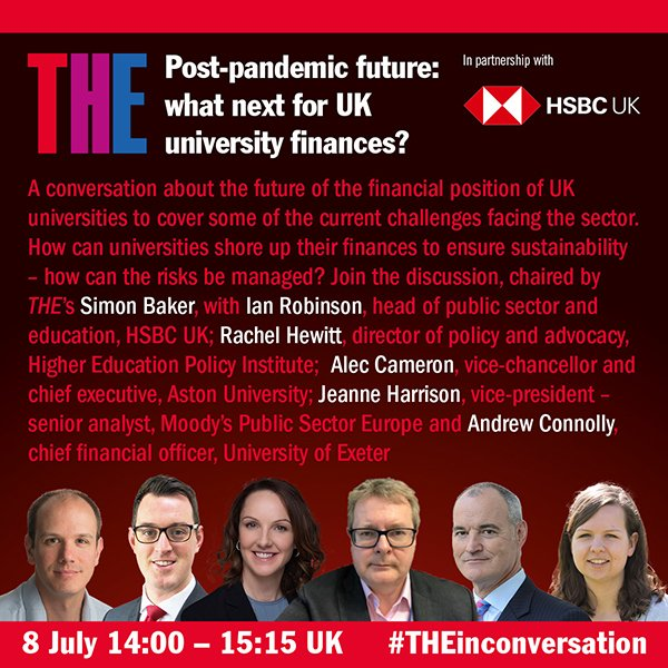 Really looking forward to chairing next #THEinconversation on July 8 on weathering the Covid financial storm with: @Rachel_Hewitt_ @astonvc Andrew Connolly @UniofExeter Ian Robinson @HSBC_UK Jeanne Harrison @MoodysInvSvc Free to register at bit.ly/2BqbrOp