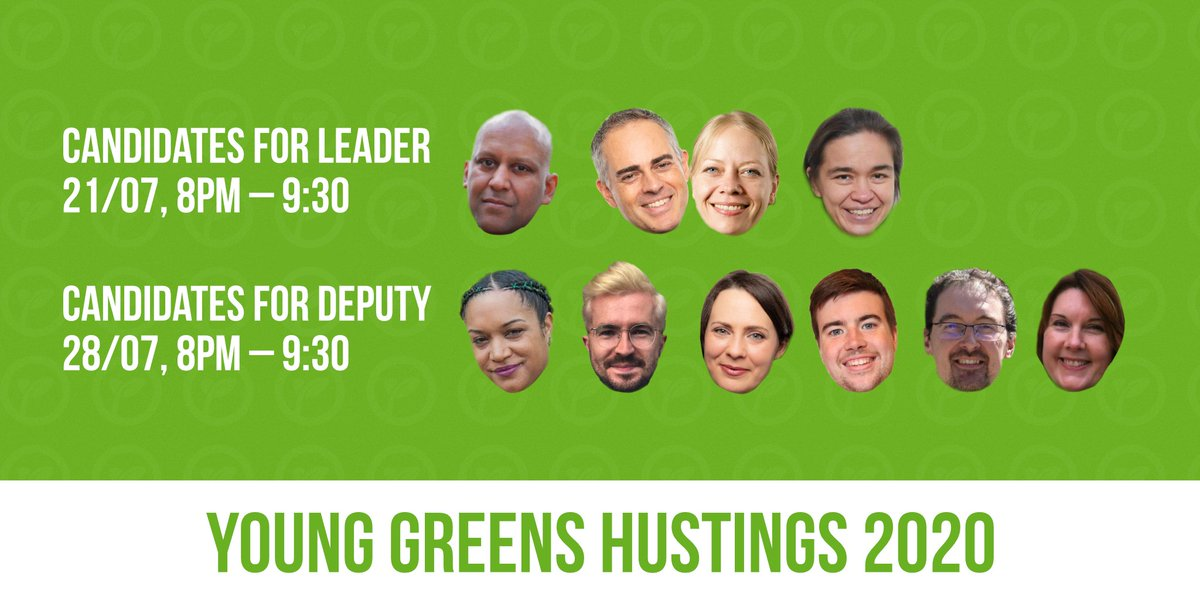 🚨 Hustings alert 🚨 This summer, @TheGreenParty are electing a new team of leaders and deputy leaders. We want our members to hear from the candidates, and so weve invited them all to some Young Greens-only hustings. Sign-up in the thread (1/4)