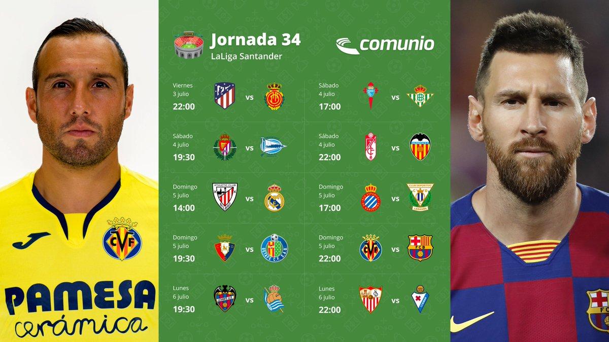 ⏳ Menos de tres horas para el comienzo de la jornada 34. Este es su calendario con los partidos Athletic-Real Madrid y Villarreal-Barcelona como platos fuertes.   ¡No olvides confirmar tu equipo #comunio, tienes de plazo hasta las 22:00 horas! https://t.co/XF4G1NC4Tx