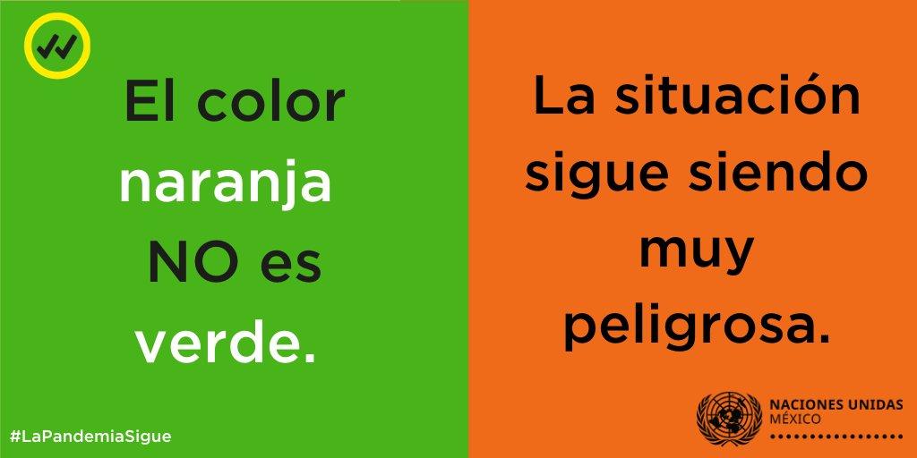 #LaPandemiaSigue 🔴Todavía no estamos fuera de peligro, la pandemia no ha terminado.  🔶 El color naranja del semáforo de riesgo epidemiológico indica que la situación sigue siendo muy peligrosa.  ✔️Si puedes, #QuédateEnCasa #ShareVerified https://t.co/lGDn8NyQ5d