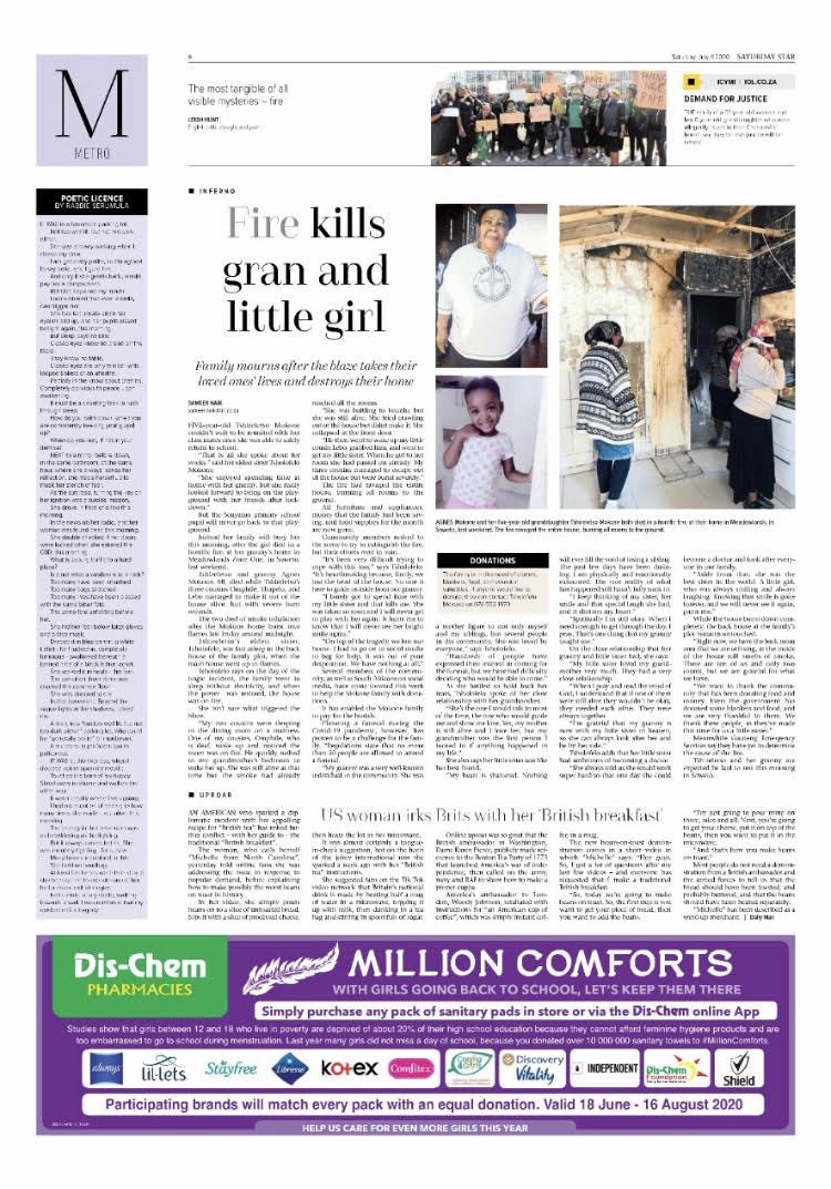#News: Soweto family in mourning after fire kills gran and five-year-old @SamNaik01 [also] The return of our acclaimed column #PoeticLicence, written by award-winning poet, journalist & former staffer @Rabbie_wrote #SatStarpic.twitter.com/nrAZpTii4B