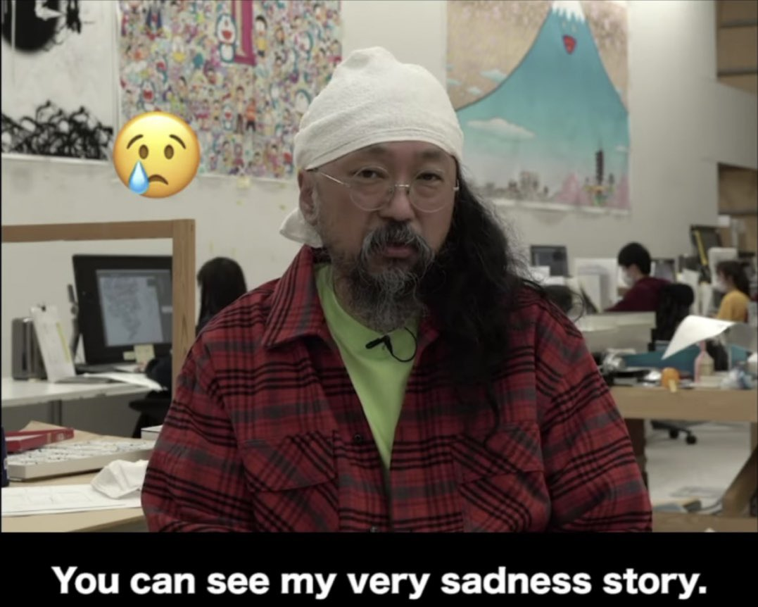 Even in his darkest moment, Takashi Murakami has so much drip.