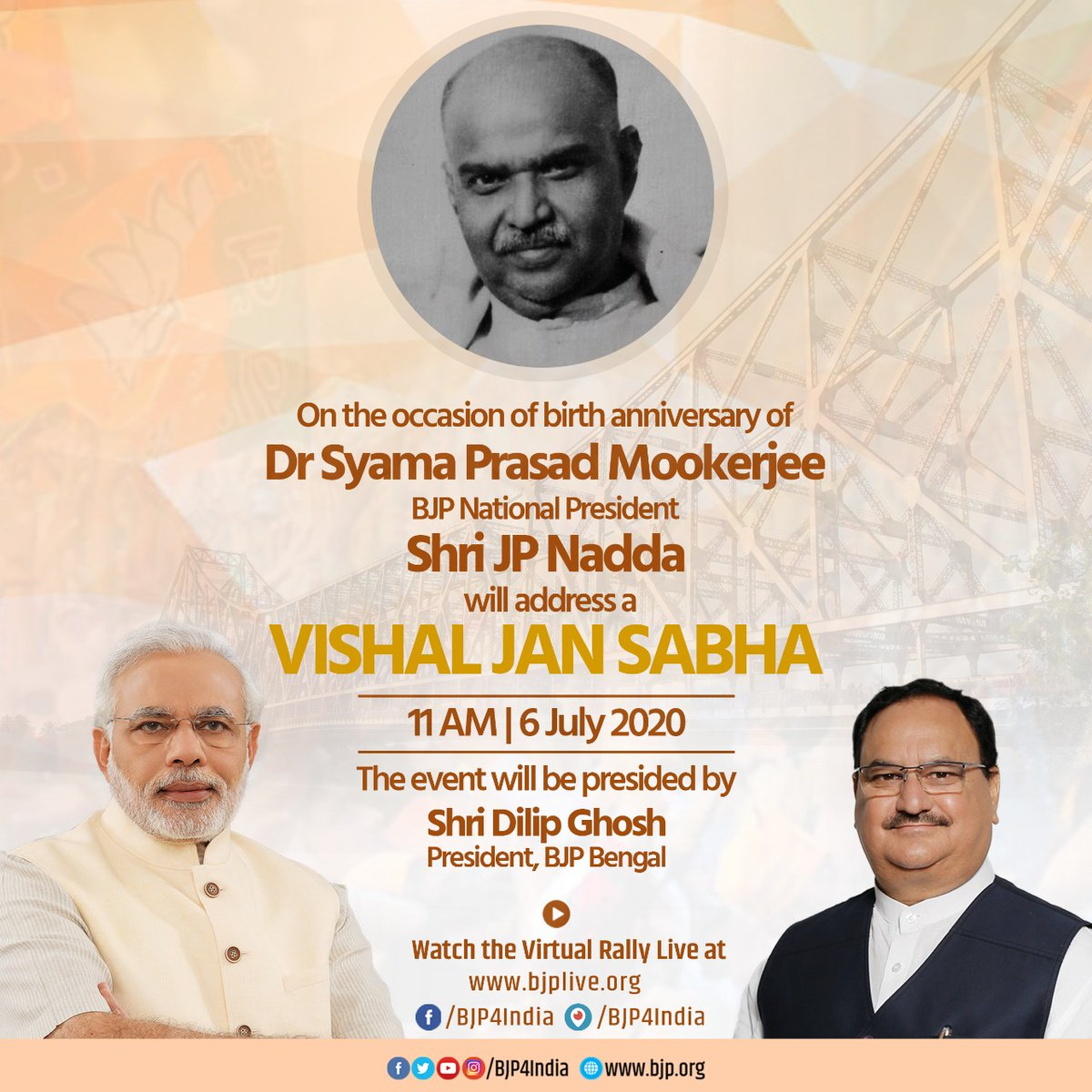 BJP National President Shri @JPNadda will address a 'Vishal Jan Sabha' on the occasion of birth anniversary of Dr Syama Prasad Mookerjee on 6th July 2020.  Watch on  https://t.co/vpP0MI6iTu https://t.co/E31Aljkes3 https://t.co/lcXkSnweeN https://t.co/jtwD1yPhm4 https://t.co/oq9hXTS9Ab
